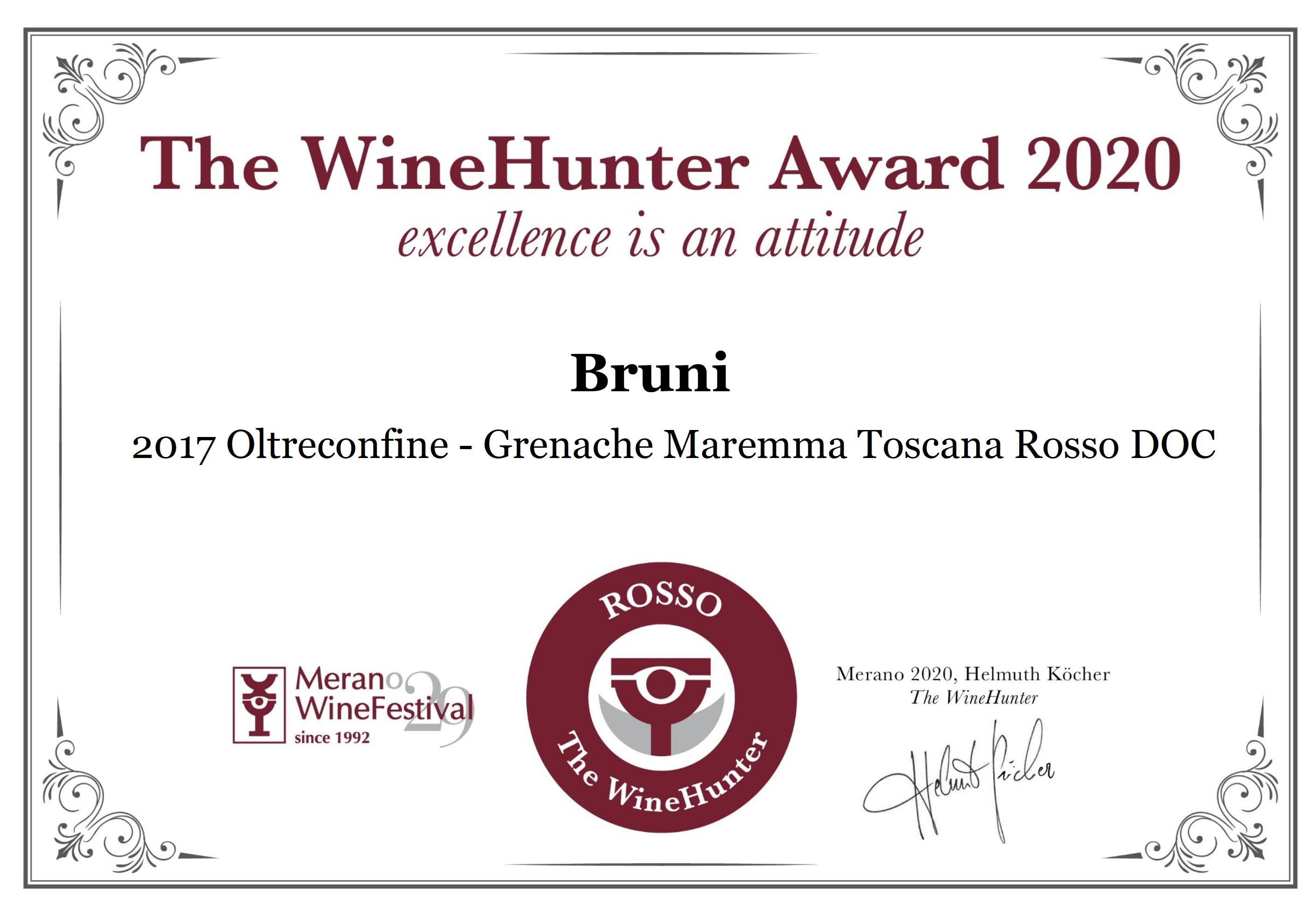 The WineHunter Award 2020 – Oltreconfine 2017